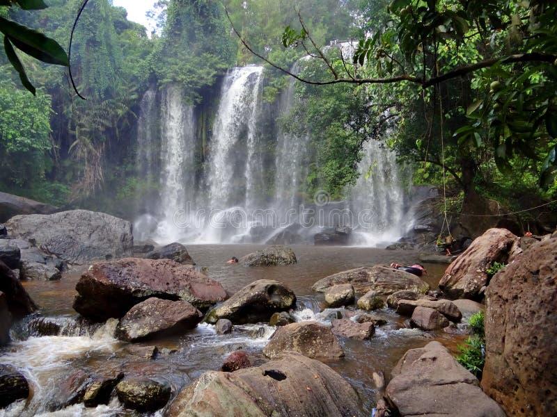 Vattenfall i Cambodja arkivfoton