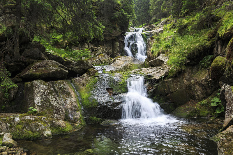 Vattenfall i Carpathiansna arkivfoton