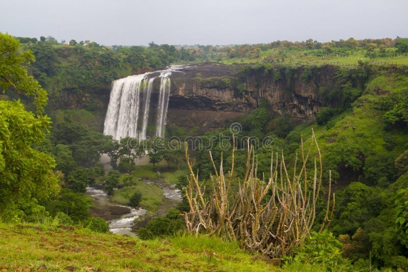 Vattenfall i central indier i monsun arkivbilder