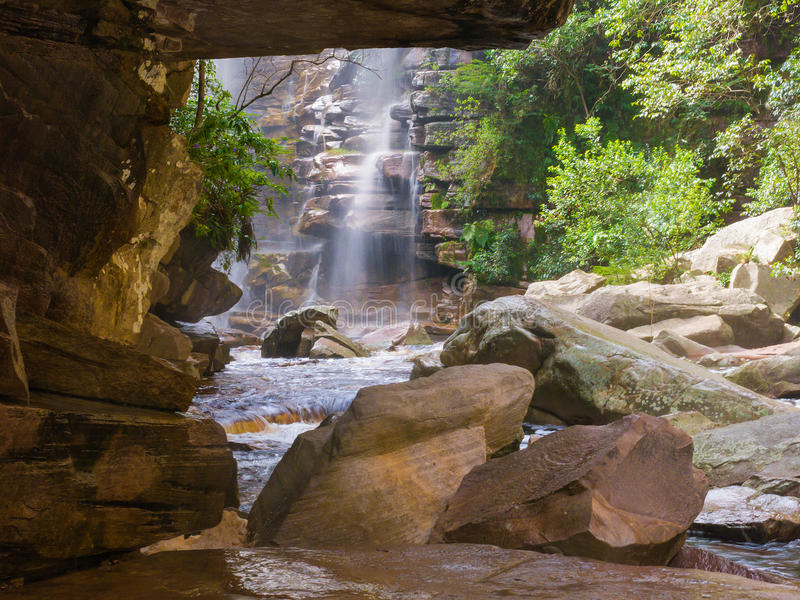 Vattenfall i Chapada Diamantina, Brasilien arkivfoto