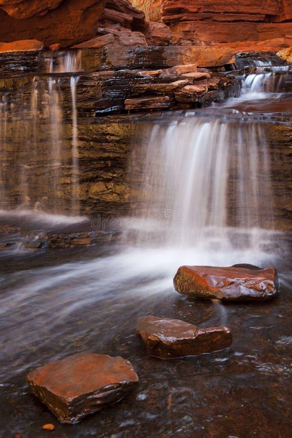 Vattenfall i den Hancock klyftan, Karijini NP, Australien arkivbild