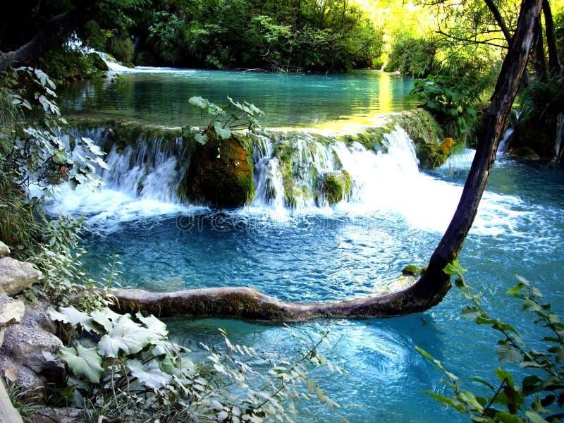 Vattenfall i den Plitvice nationalparken, Kroatien arkivbilder