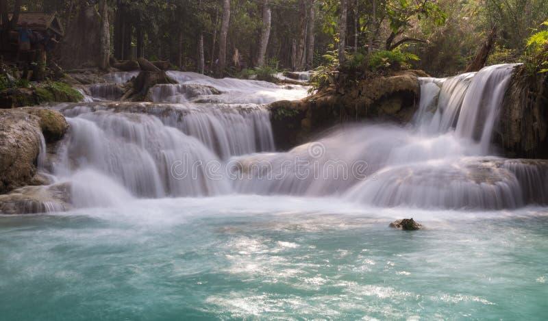 Vattenfall i djup regnskogdjungel arkivfoton