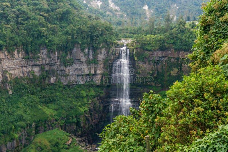 Vattenfall i en skog med berg arkivbild