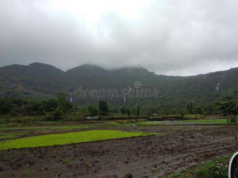 Vattenfall i formmaharashtraen för regnig säsong, Indien arkivbilder