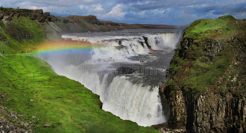Vattenfall i Island Gullfoss royaltyfri foto