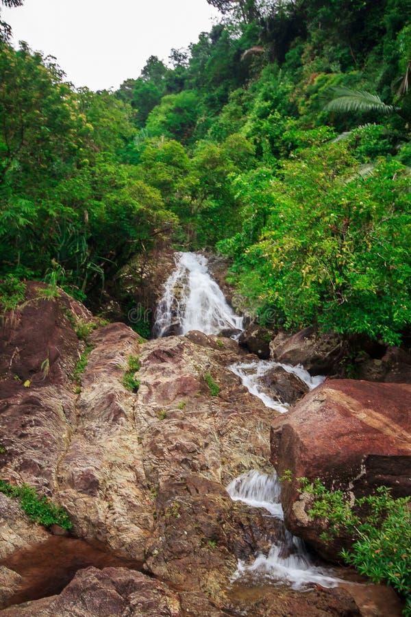 Vattenfall i naturflöde till och med stort vaggar arkivfoto