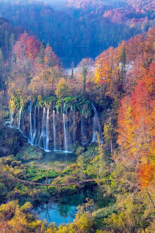 Vattenfall i Plitvice sjöar royaltyfria bilder
