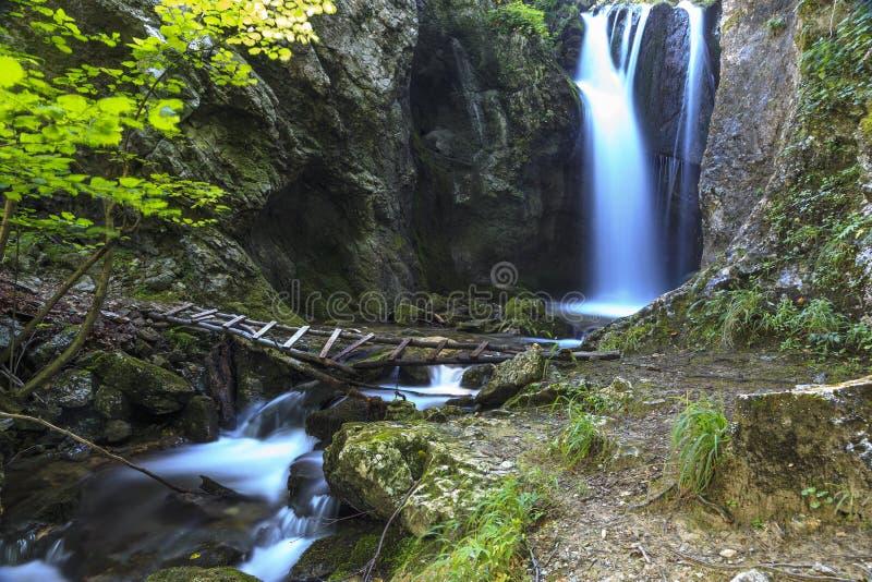 Vattenfall i smal kanjon fotografering för bildbyråer