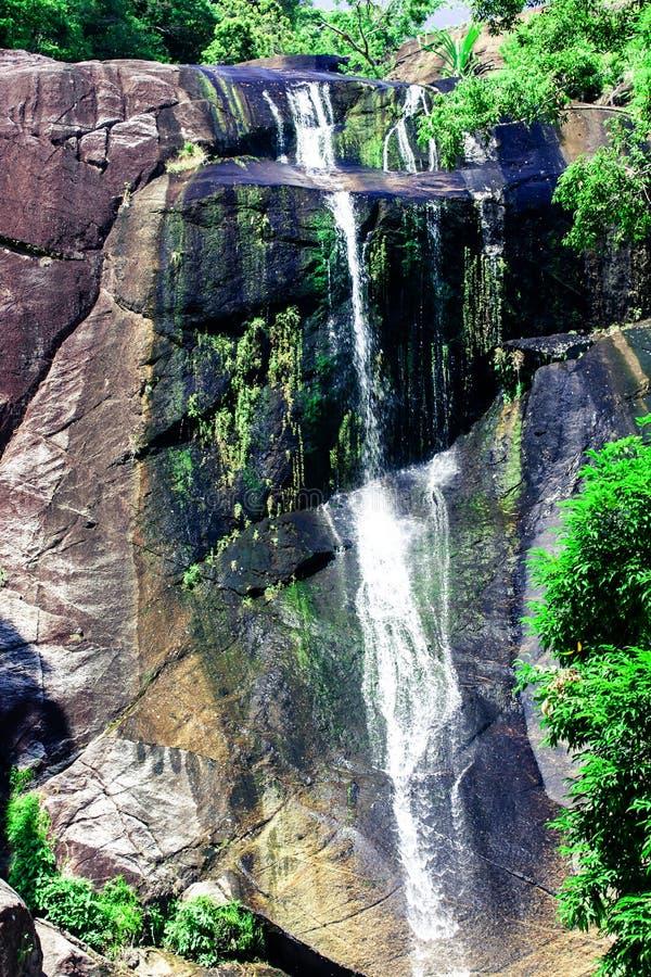 Vattenfall i steniga berg i djungel på den tropiska ön i Asien royaltyfri fotografi