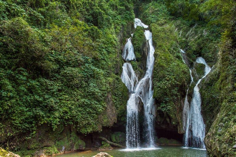 Vattenfall i Vegas för frodig rainforest en stor vattenfall royaltyfria bilder