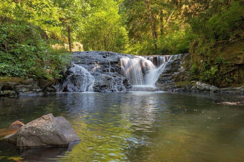 Vattenfall längs söt liten vik i den Oregon closeupen arkivbilder