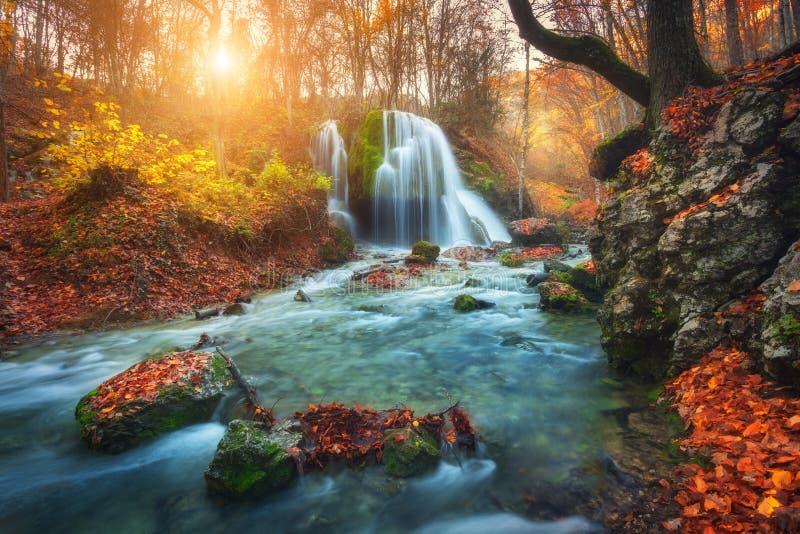 Vattenfall på bergfloden i höstskog på solnedgången royaltyfri fotografi