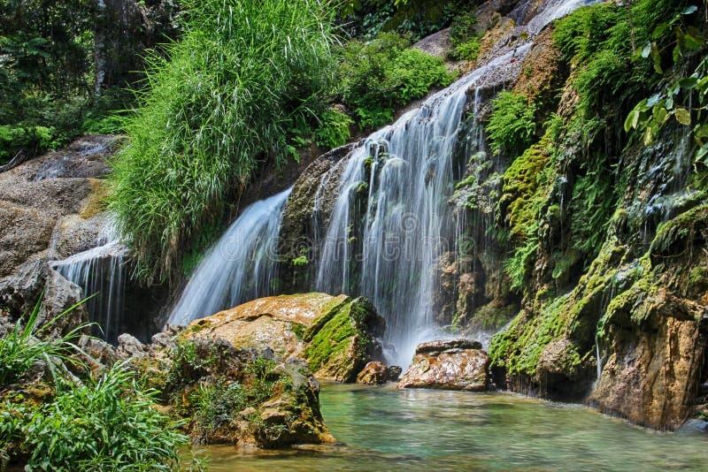 Vattenfallet El Nicho i Kuba i djungelnatioanlen parkerar Det placeras i den Zapata halvön arkivfoton