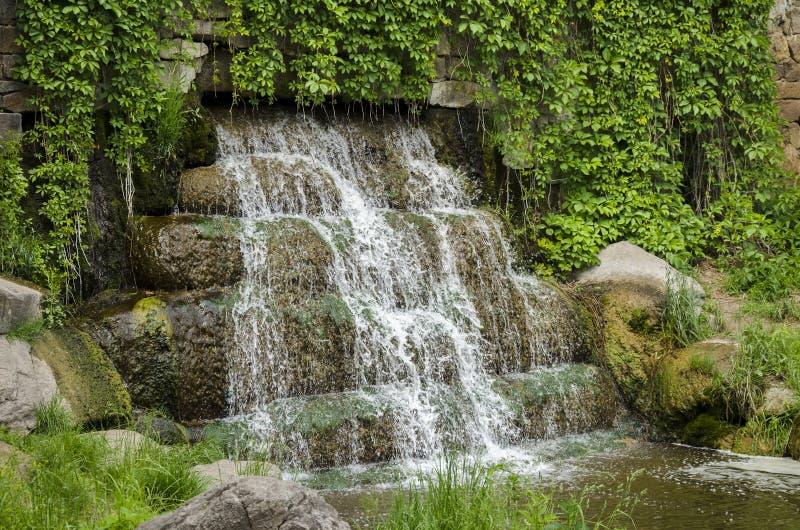 Vattenfallet i ett offentligt parkerar royaltyfri fotografi