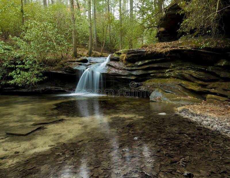 Vattenfallet i tabell vaggar delstatsparken, South Carolina arkivbild