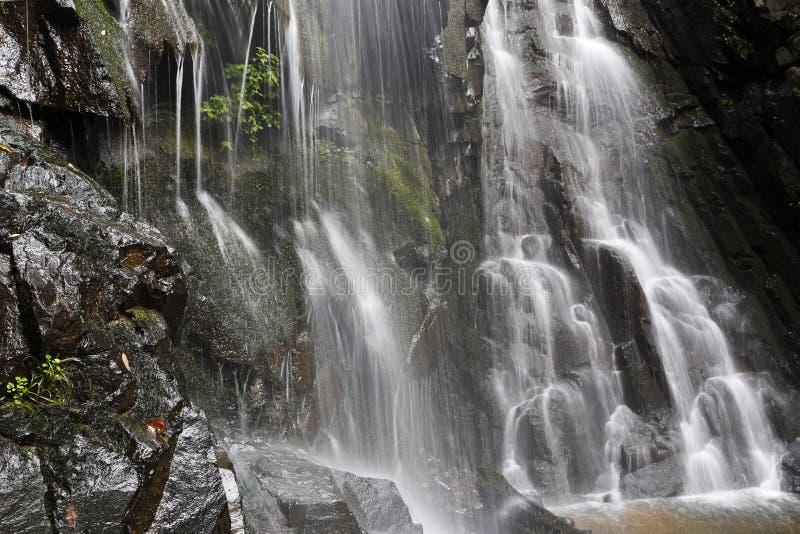 Vattenfallet med bergen i landet av Sri Lanka royaltyfri fotografi