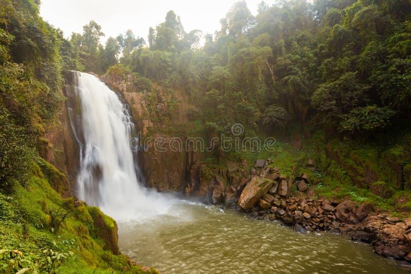 Vattenfallet namnger `-Haew Narok ` i rainforest arkivfoto