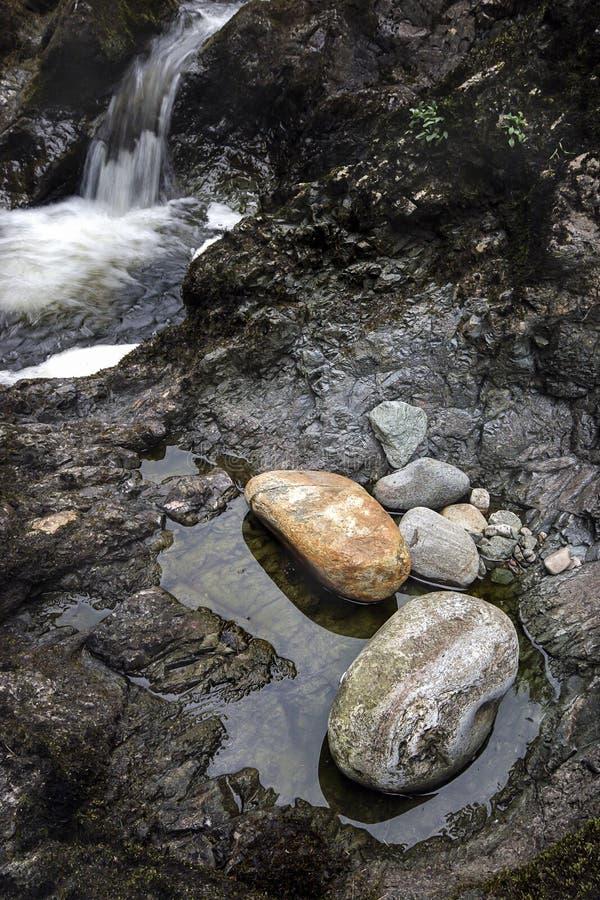 Vattenfallet och vaggar på Glen Esk i Skottland arkivbild