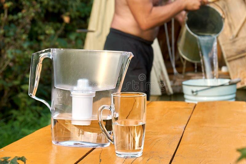 Vattenfilter med en kopp med ett shirtless mindre hällande vatten för man från en brunn royaltyfri bild