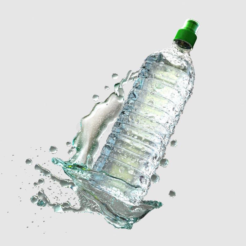 Vattenflaska med färgstänk royaltyfri fotografi