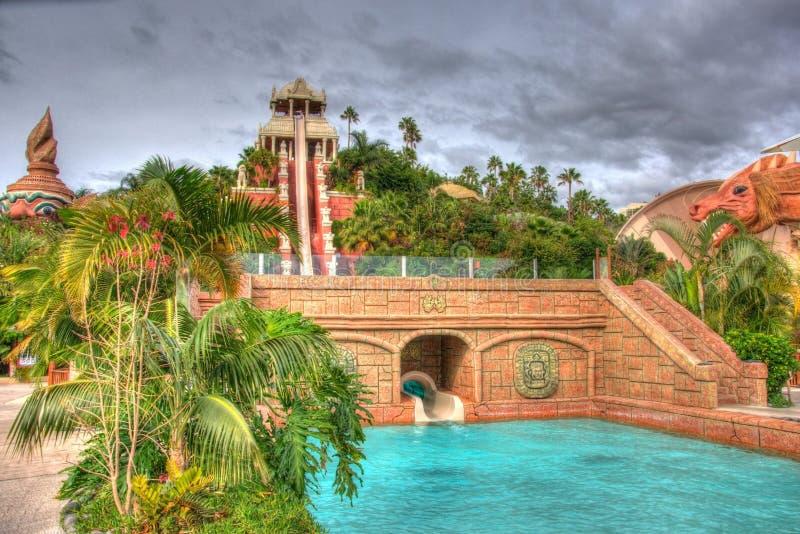 Vattenglidbana i djungler, Tenerife i Canarian öar arkivfoto