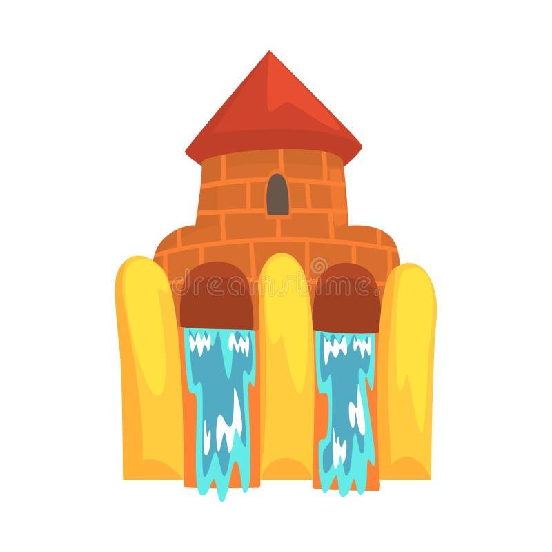 Vattenglidbanor i form av en slott, illustration för vektor för aquaparkutrustningtecknad film stock illustrationer