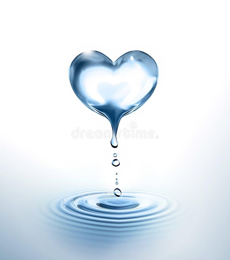 Vattenhjärta stock illustrationer