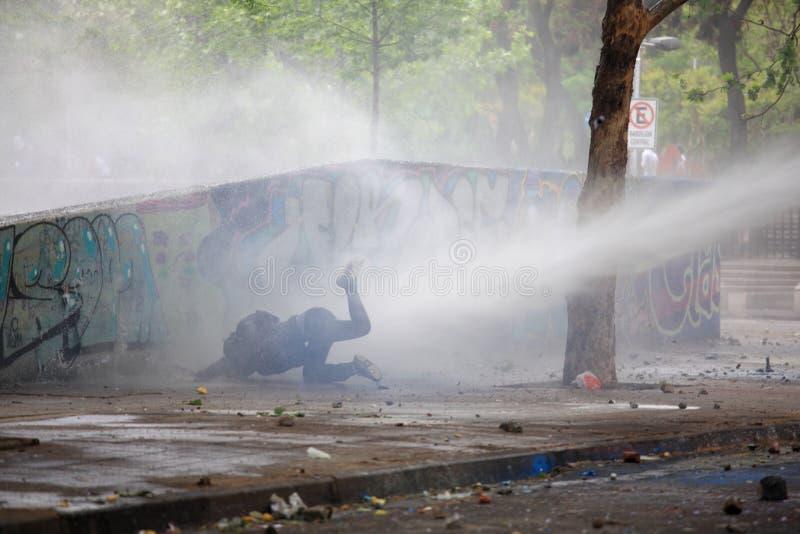 Vattenkanon protest fotografering för bildbyråer