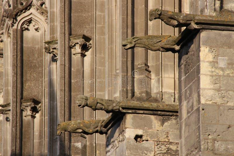 Vattenkastare dekorerar fasaden av denGatien domkyrkan i Tours (Frankrike) royaltyfria bilder