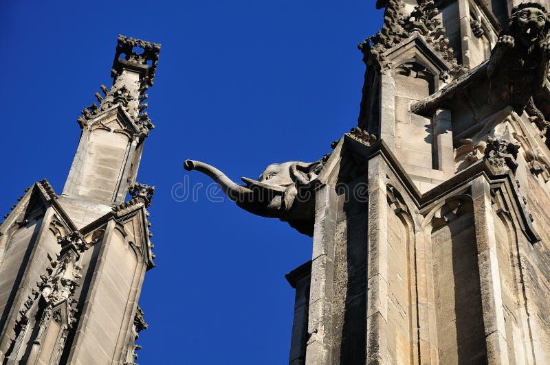 Vattenkastare med elefanthuvudet på den Ulm domkyrkan royaltyfri foto