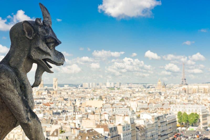 Vattenkastare på Notre Dame Cathedral och stad av Paris arkivfoto