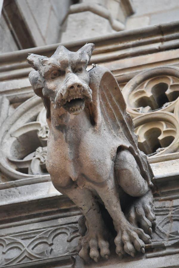 Vattenkastarestatyer på gotisk domkyrka i Barcelona, Spanien royaltyfri foto