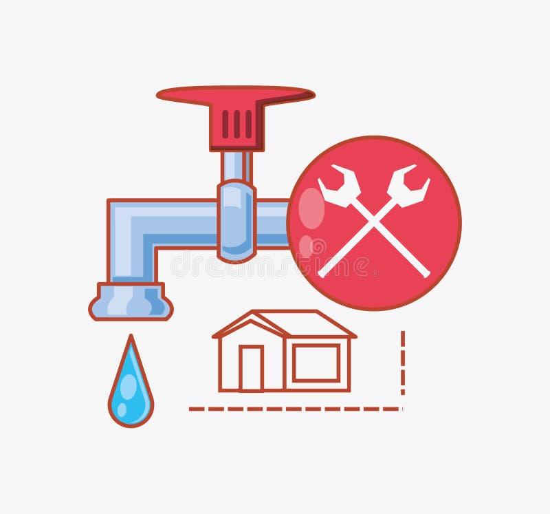 Vattenklapp med hem- reparationssymboler vektor illustrationer