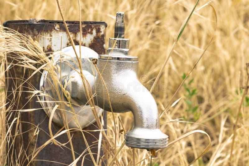 Vattenklapp utan vatten i torrt gräs, under en ointressant sommar arkivfoto