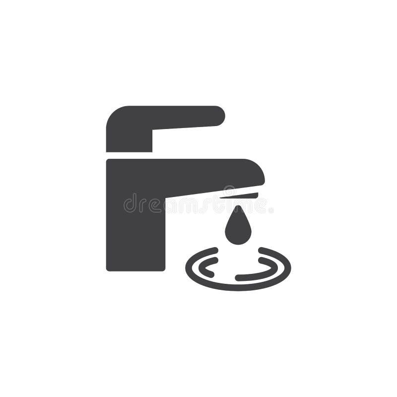 Vattenkran med symbolen f?r vattendroppvektor royaltyfri illustrationer