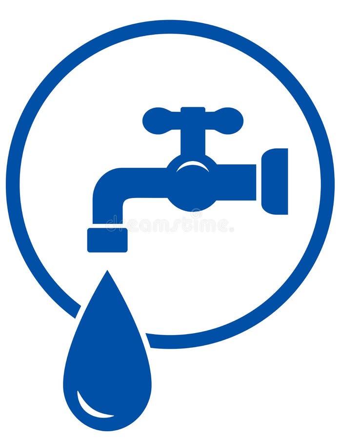 Vattenkran med vattendroppe stock illustrationer