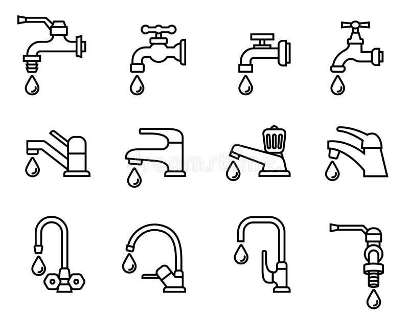 Vattenkransymbol royaltyfri illustrationer