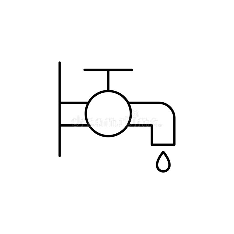 Vattenkransymbol Beståndsdel av droppande som bevattnar symbolen för mobila begrepps- och rengöringsdukapps Den tunna linjen vatt stock illustrationer