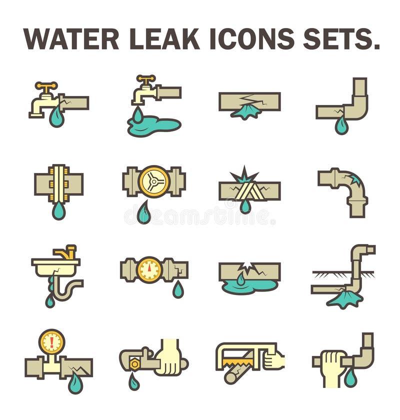 Vattenläckasymbol royaltyfri illustrationer