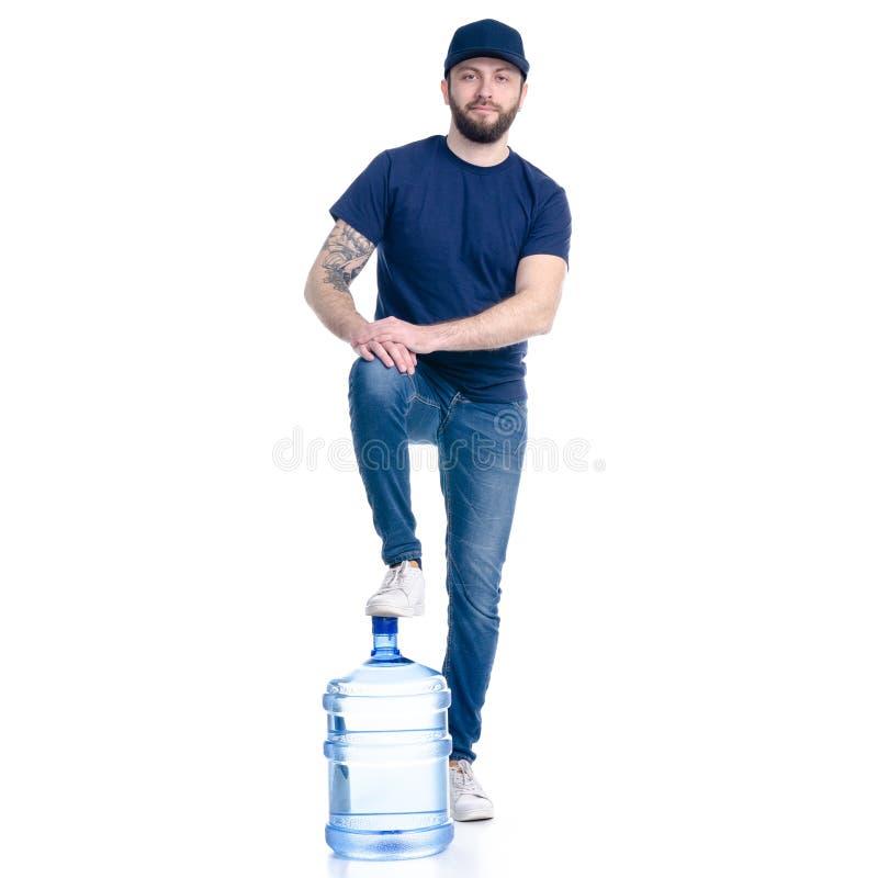 Vattenleveransman i blått t-skjorta och lock royaltyfri fotografi