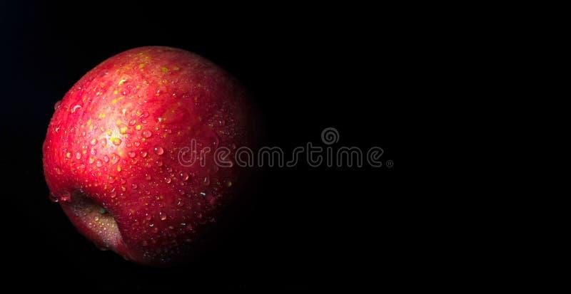 Vattenliten droppe på glansig yttersida av det röda äpplet på svart bakgrund