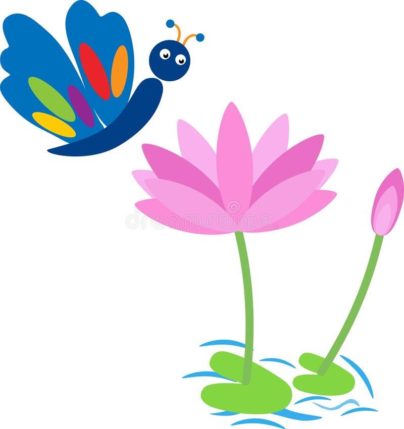 Vattenlotusblomma och fjäril stock illustrationer