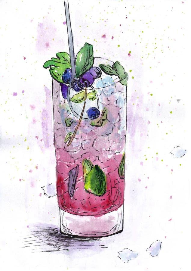 Vattenmelon för exponeringsglas för stång för drinkblåbärvattenfärg kall vektor illustrationer