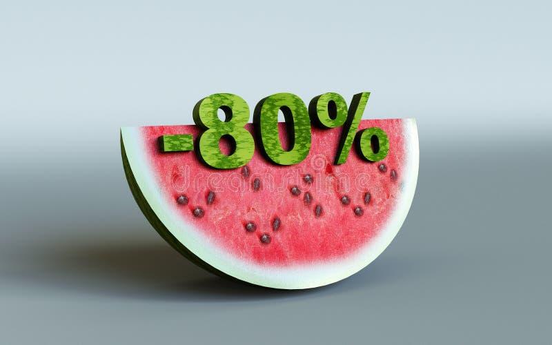 Vattenmelon och 80% royaltyfri bild