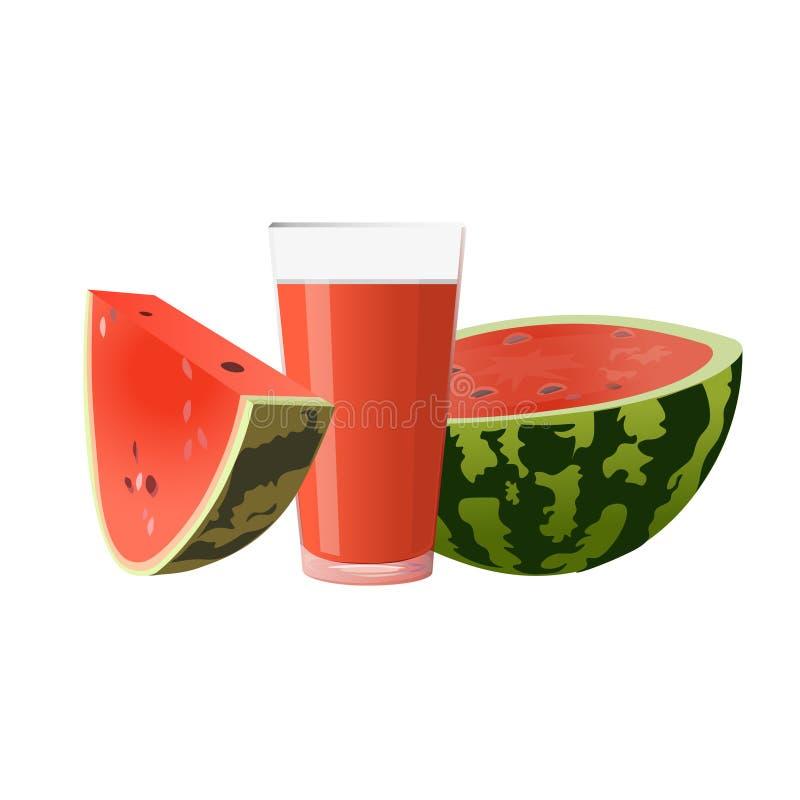 Vattenmelon och exponeringsglas av fruktsaft stock illustrationer