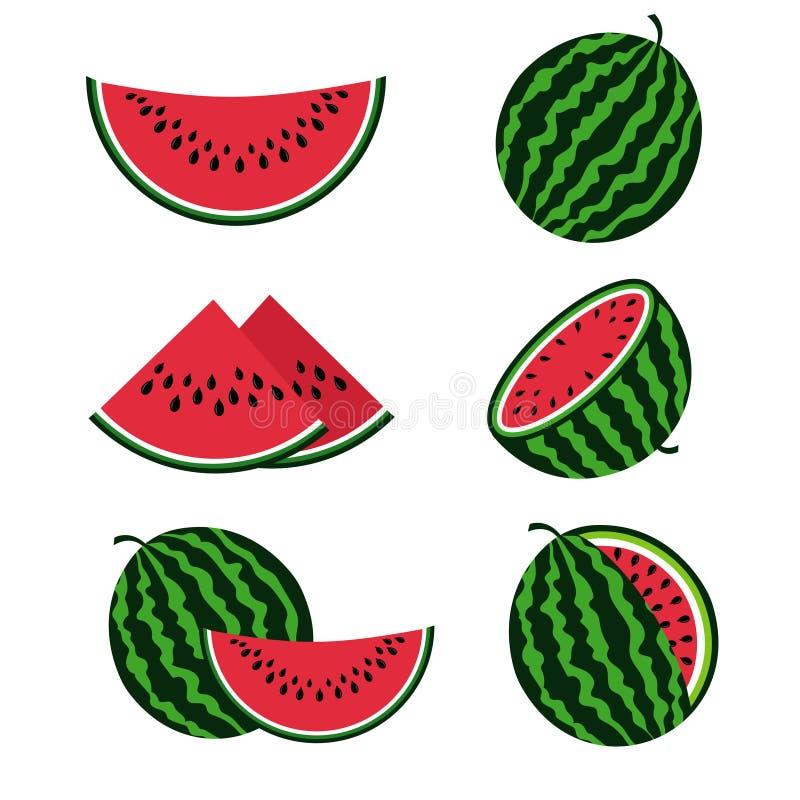 Vattenmelon och vattenmelonskivor sänker tecknad filmvektoruppsättningen royaltyfri illustrationer