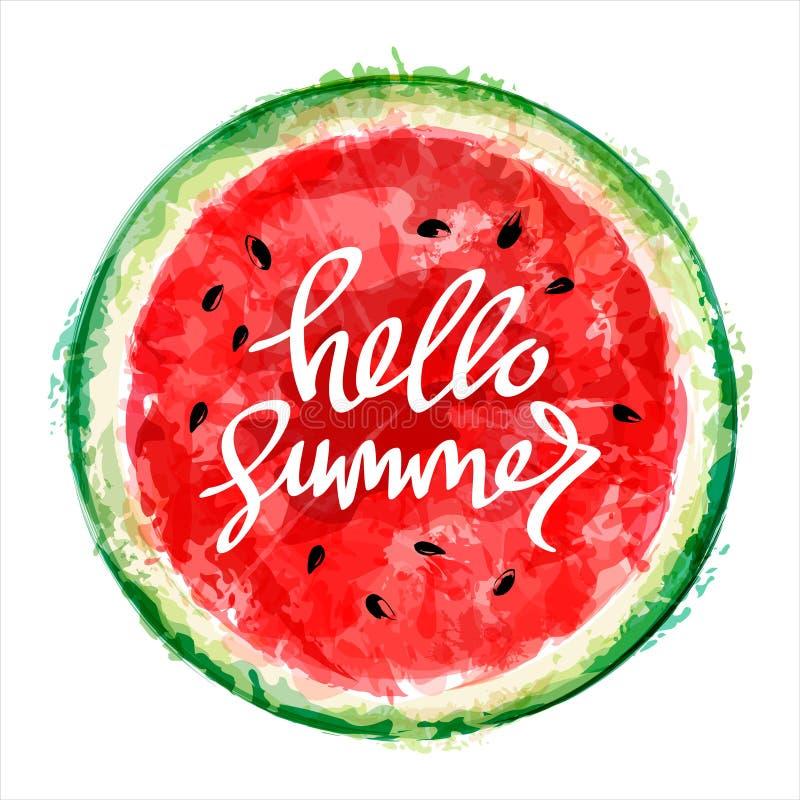 Vattenmelon på vit bakgrund InskriftHello sommar Sommar stock illustrationer