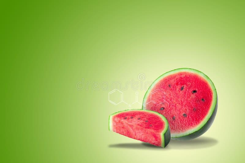 Vattenmelon som förnyar sommarfrukt på grön bakgrund royaltyfri fotografi