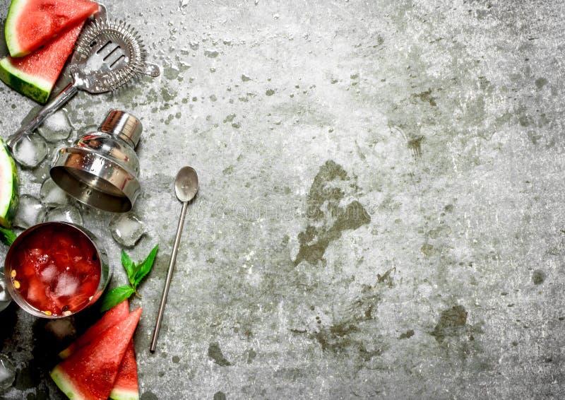 Vattenmeloncoctail med mintkaramellen och is i en shaker fotografering för bildbyråer